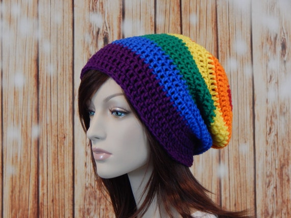Teen Adult Rainbow EXTRA Slouch Hat Slouchy Beanie Mens Hat  b69250ad330