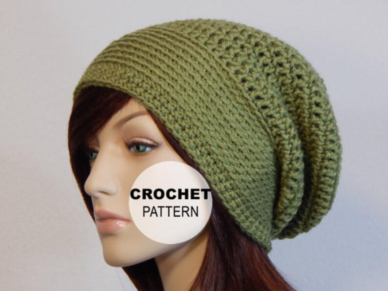 Crochet Pattern Pdf The Mod Slouch Beanie Slouchy Hat Etsy