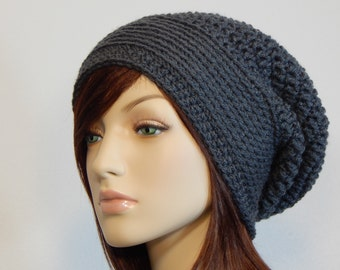 Color Choices, Dark Gray Slouch Hat, Grey Slouchy Beanie, Womens Hat, Slouchy Hat, Winter Hats, Slouchy Hat Women, Slouchy Beanie Women