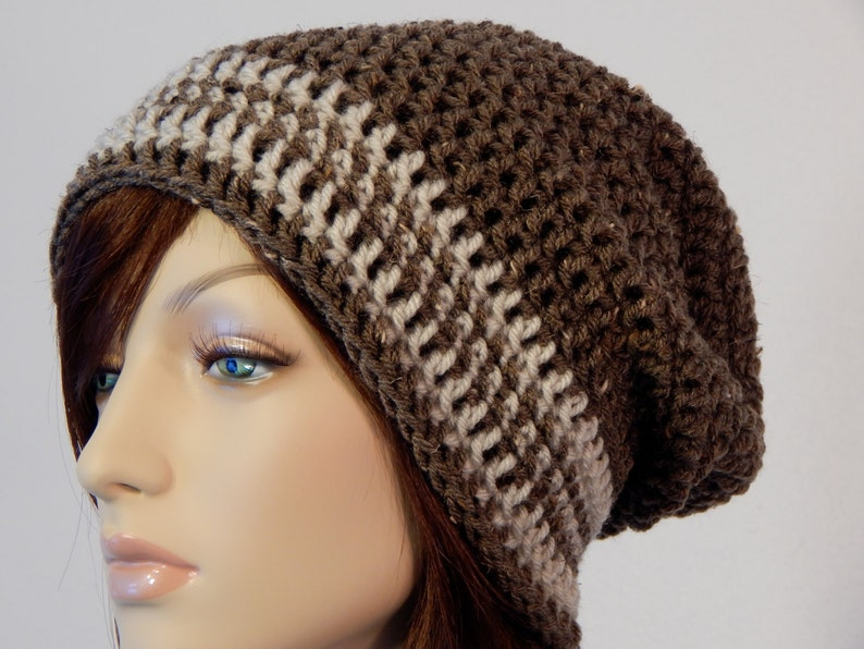 d56fa90b6a0 Barley Brown and Oatmeal Slouch Hat Brown and Off White