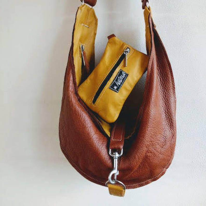 2a9c1857347 Curry brown leather hobo bag shoulder bag handbag one | Etsy