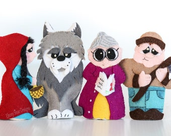 Red Riding Hood Finger Puppet PATTERNS. PDF Sewing Patterns- Felt Finger Puppets.
