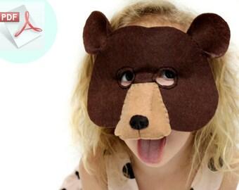 Bear Mask PATTERN // Kids Bear Costume // DIY Party Mask // Felt Mask Sewing Pattern