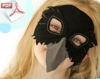 Raven Mask PATTERN.  Digital Sewing Pattern - Kids Raven Costume.