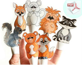 Woodland Printable Finger Puppets. DIY Paper Finger Puppets.