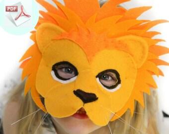 Lion Mask PATTERN.  Kids Animal Mask Sewing Pattern. DIY Party Mask.