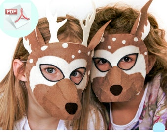 Deer Mask PATTERN // DIY Halloween Mask // Reindeer Party Mask Sewing Pattern // Kids animal mask