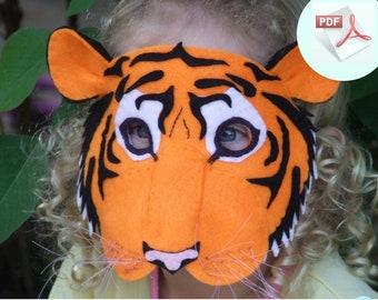 Tiger Mask PATTERN. Kids Animal Mask Sewing Pattern.  DIY Party Mask.
