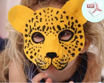Leopard Mask PATTERN.  Kids Animal Mask Sewing Pattern. DIY Party Mask.