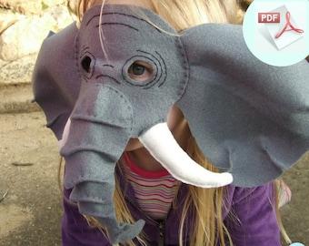 Elephant Mask PATTERN.  Kids Animal Mask Sewing Pattern.  DIY Party Mask.