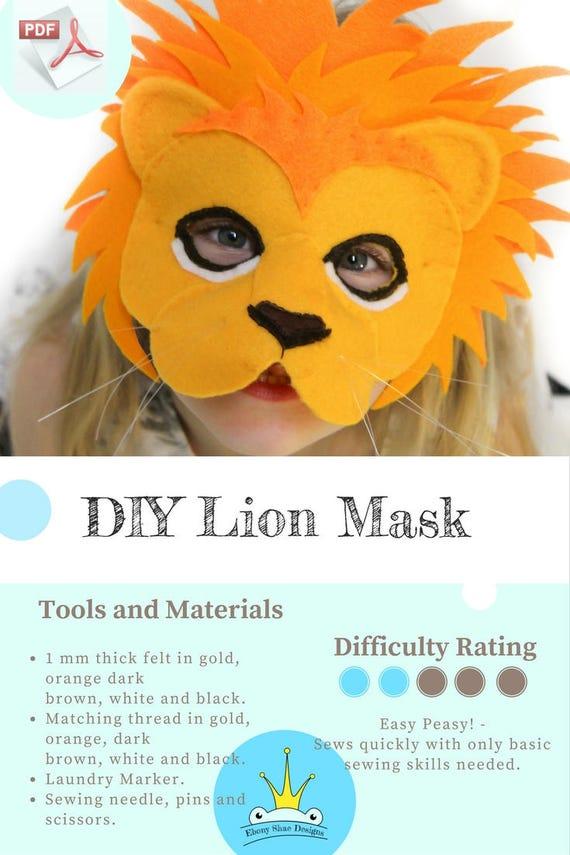 Lion Mask PATTERN. Kids Animal Mask Sewing Pattern. DIY Party