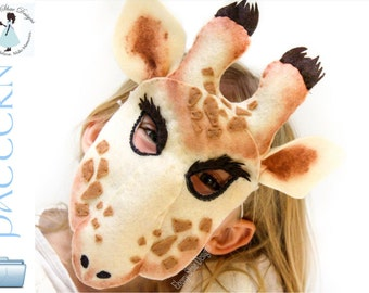 Kids Giraffe Mask PATTERN.  Digital sewing pattern- kids giraffe costume.