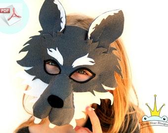 Wolf Mask PATTERN. Kids Felt Mask Sewing Pattern