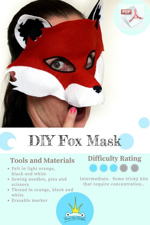 Fox Mask PATTERN. Kids animal mask sewing pattern. Fox Party | Etsy