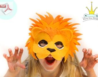 Lion Mask PATTERN.  Kids Felt Mask Sewing Pattern.