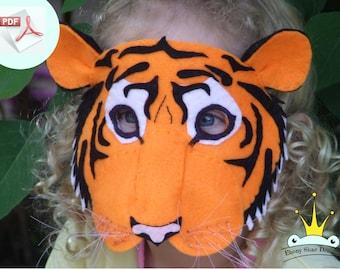 Tiger Mask PATTERN. DIY Halloween Mask Sewing Pattern.