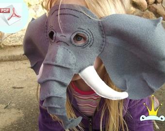 Elephant Mask PATTERN.  Kids Felt Mask Sewing Pattern.