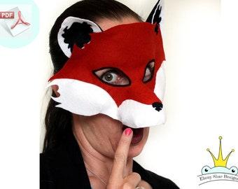 Fox Mask PATTERN.  Sewing Pattern PDF.