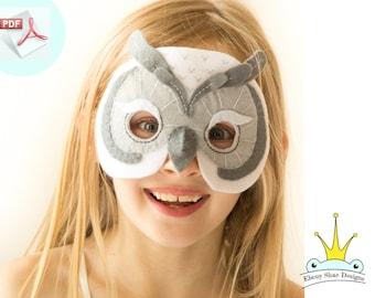 Kids Owl Mask/Costume Pattern. PDF Pattern,