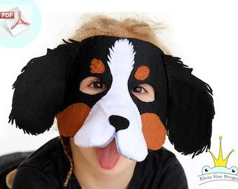 Dog Mask PATTERN.  Felt Dog Mask Sewing Pattern.