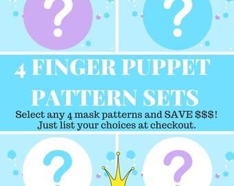 4 Finger Puppet Pattern Sets // Choice of Felt Finger Puppet Sewing Patterns // DIY Animal Finger Puppet Bundle.