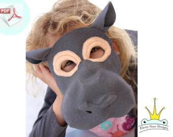 Hippo Mask PATTERN. Kids Animal Mask Sewing Pattern. DIY Party Mask.