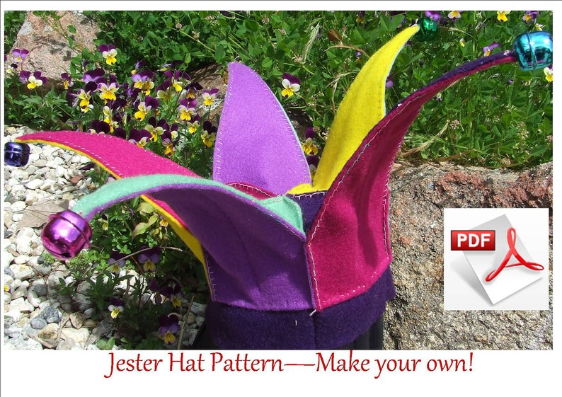 78c5e319bb3 Jester Hat or elf hat sewing PATTERN. Elf or Jester costume
