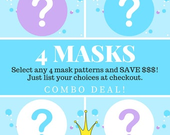 Animal mask patterns - your choice of 4.  Discount kids mask vostumes diy.