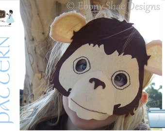 Monkey Mask PATTERN. Digital sewing pattern for kids monkey costume.
