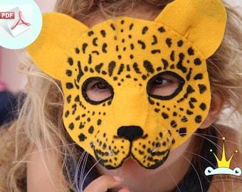 Leopard Mask PATTERN.  Kids Animal Mask Sewing Pattern.