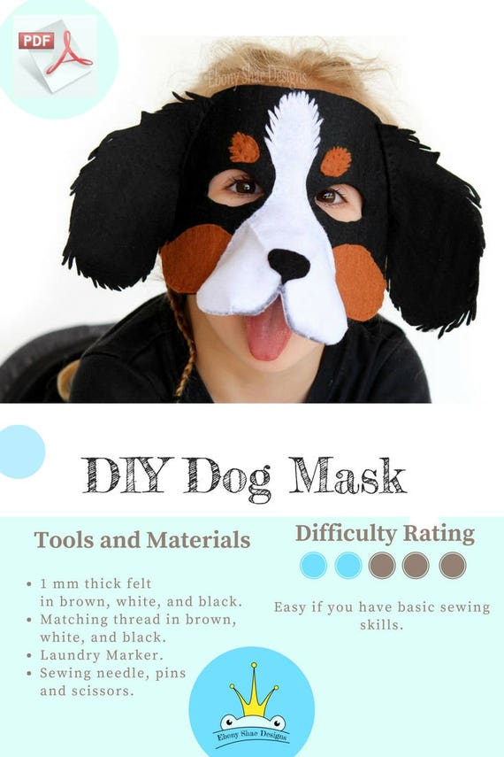 Dog mask pattern kids felt dog mask sewing pattern etsy image 0 maxwellsz