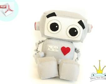 Robot Plushie Sewing PATTERN. Stuffed Toy Pattern.
