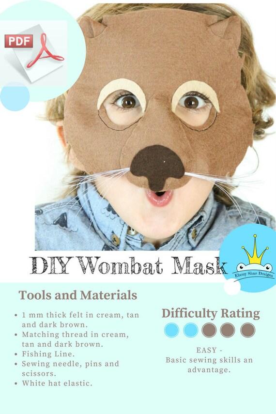 Wombat Mask PATTERN// DIY Kids Party Mask Sewing Pattern.