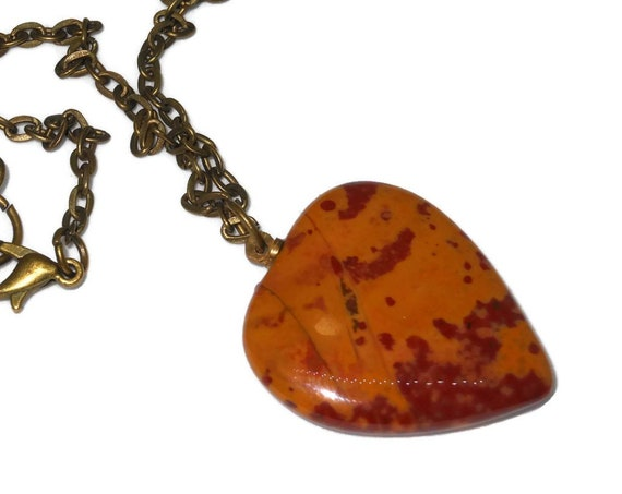 Fancy Jasper heart necklace, handmade necklace,  jasper heart pendant, antiqued bronze link chain