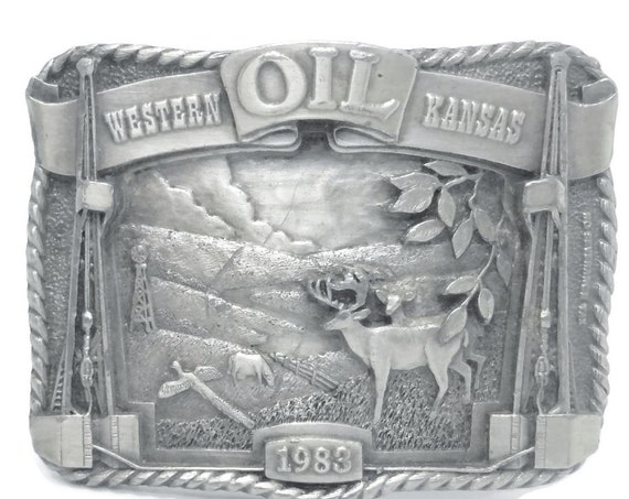 Kansas Oil belt buckle, Western Kansas 1983, limited edition of 500, National Buckle Swap Meet Hays, pewter Siskiyou Buckle Company, vintage