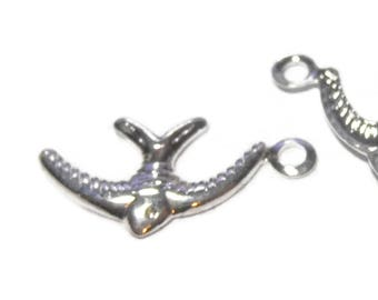 Tiny bird charms, silver-plated brass, 10x6mm bird, sold per pkg of approximately 100, formed from stamped brass