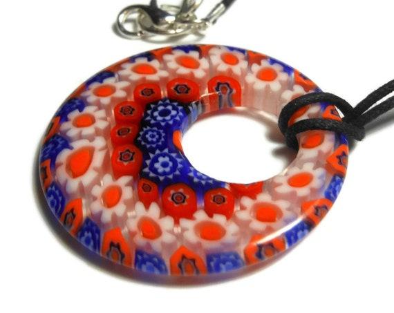 Millefiori glass pendant, 40mm round blue orange and white flowers, round go-go black cord, silver plated findings, handmade, handmade