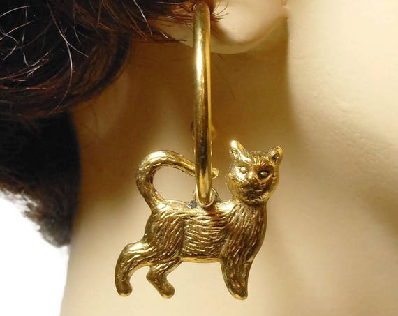 Cat kitty earrings, gold hoop pierced, removable cat charms, wear hoop alone or with other charms! Mix it up!