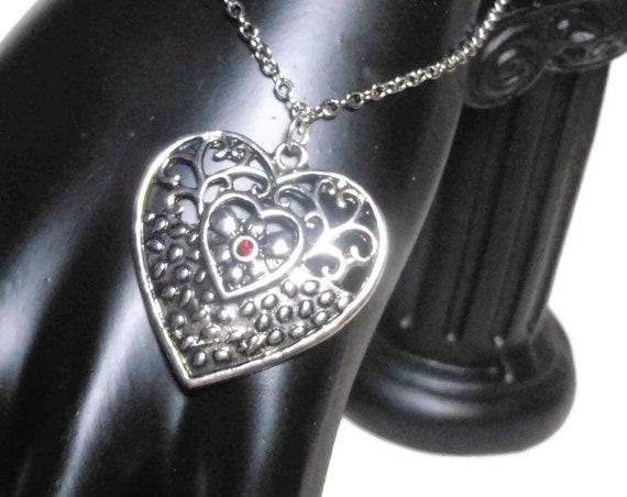 Red heart charm bracelet, filigree heart focal, silver plated link chain, red rhinestone, romantic wedding bride, girlfriend wife, handmade
