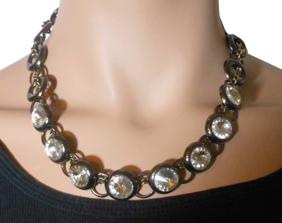 Cookie Lee gunmetal choker,  Rivoli rhinestones, gunmetal chain, intertwining bronze curb chain