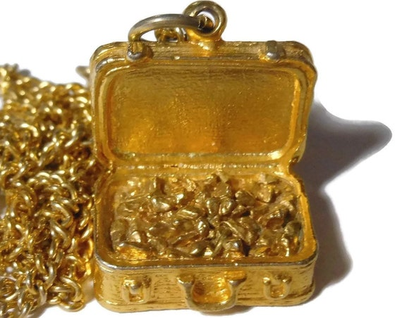 Gold nugget chest pendant, gold nuggets in a case necklace, gold on chain, treasure chest