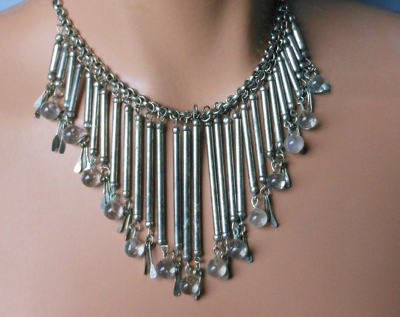 Spoon bib necklace, tubes hang from chain, clear glass beads and small 'spoon' beads dangle,  nickel silver tribal, ethnic boho, native
