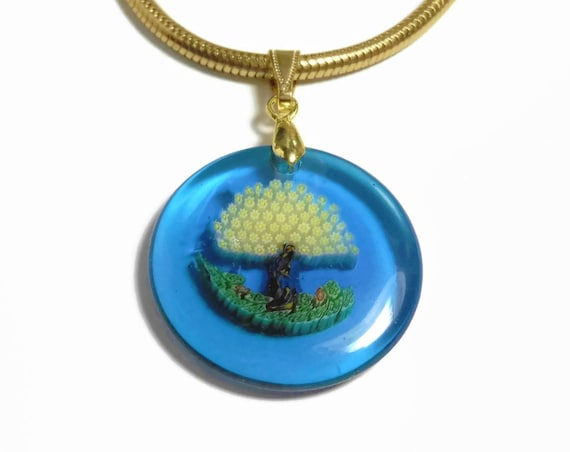 Millefiori glass tree pendant, dark blue disc, with yellow flower leaves, vintage gold plated chain, gold snake chain