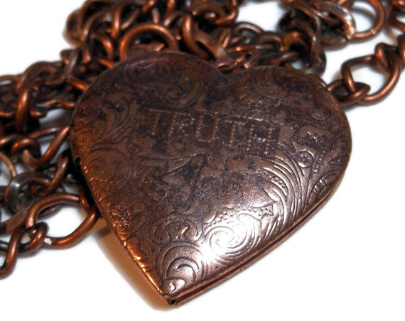 Bronze truth or dare heart locket, reversible locket, bronze decorative chain, 'antiqued' bronze chain