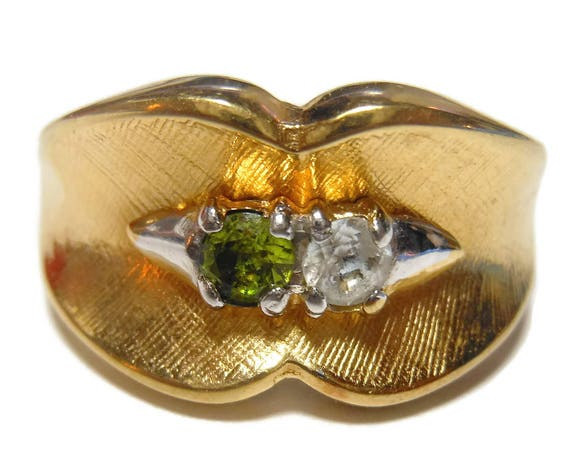 Uncas Peridot Ring, Cubic Zirconia, 14KT HGE ring, heavy gold electroplate, 1960s gemstone ring, August birthstone, size 6 3/4