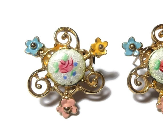 Rose Guilloche Scatter Pins, 1950's Small Guilloche Rose Center Surrounded by Enamel Daisies and Gold Swirls