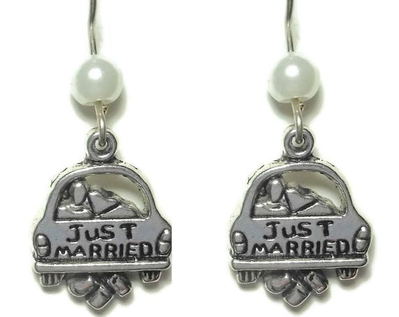 Just married car earrings, handmade wedding, topped with white glass pearl, french hook pierced silver tone, bride brides