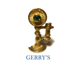 Gerry's telephone brooch, candlestick telephone pin, gold tone green rhinestones, detailed figural phone brooch, old fashioned