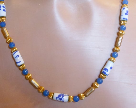 Ivar T. Holth necklace, hand painted enamel 14k gold filled necklace in blues and white