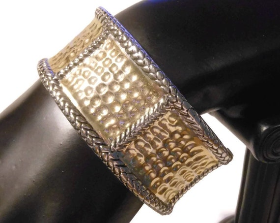 Two tone wide clamper bracelet, gold hammered (dimpled) panels with silver rope borders, cuff